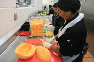first_week_of_school_food_at_kelly_miller_middle_school_-_cutting_melons